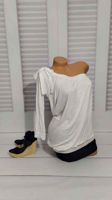 Блуза трикотажная белая, кофта, футболка, туника, s