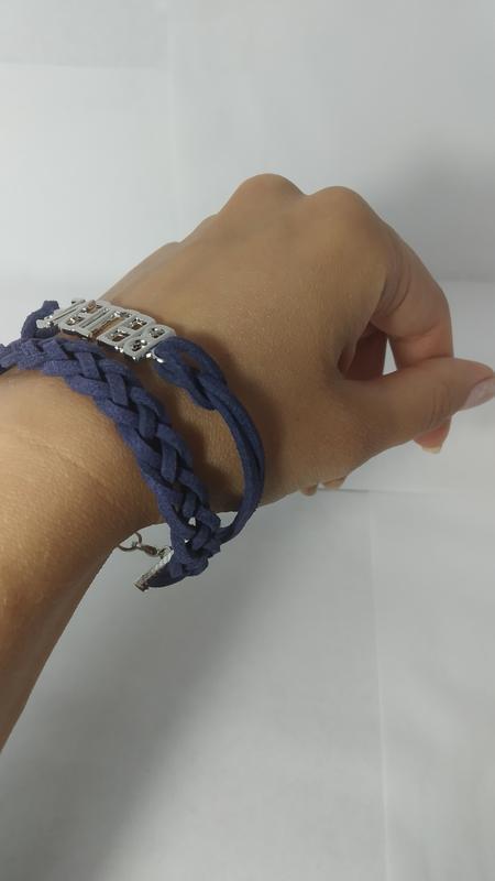 Стильный замшевый синий браслет - Фото 2