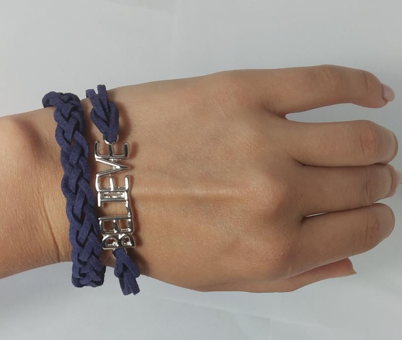 Стильный замшевый синий браслет - Фото 3