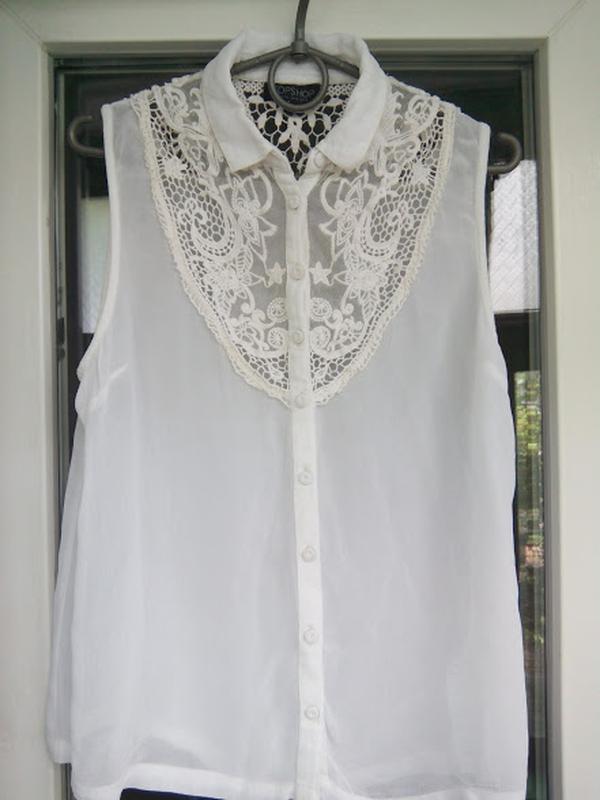 Белая полупрозрачная блуза без рукавов topshop | рубашка блузк...