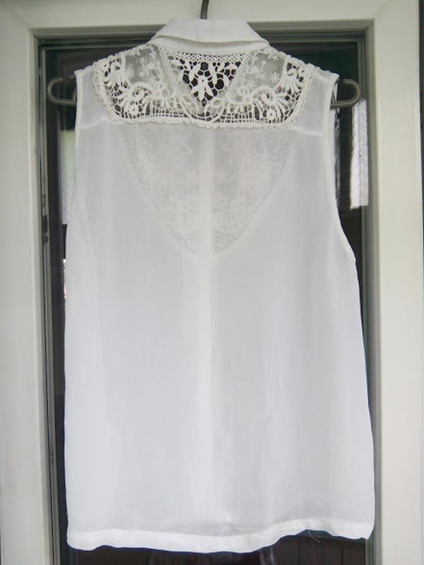 Белая полупрозрачная блуза без рукавов topshop | рубашка блузк... - Фото 4