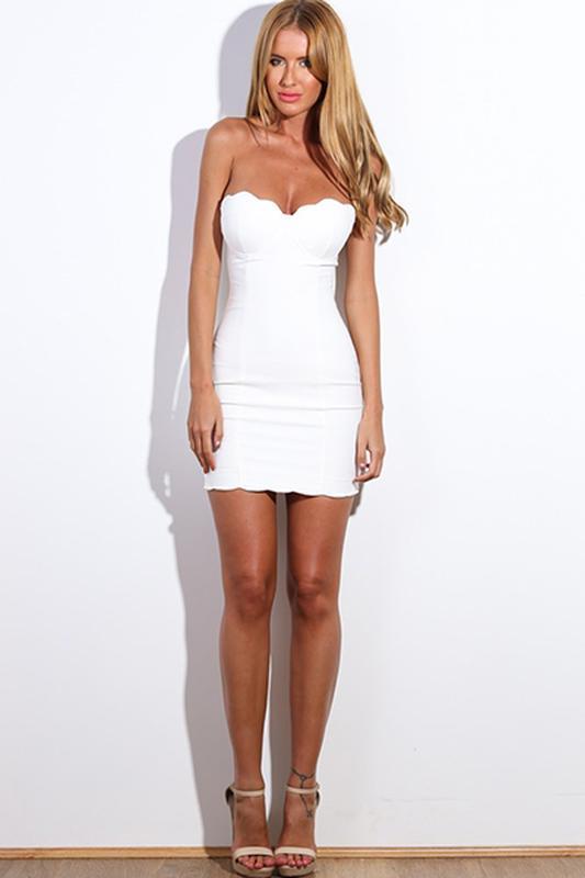 Женское клубное вечернее нарядное белое короткое платье бюстье... - Фото 2