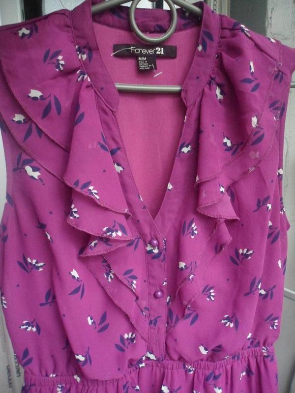 Летнее нарядное платье с воланами в цветочный принт forever 21... - Фото 3