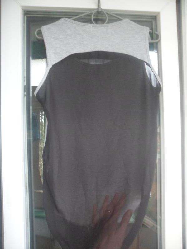 Серая майка футболка pilot с принтом крест шифоновая спина - Фото 3