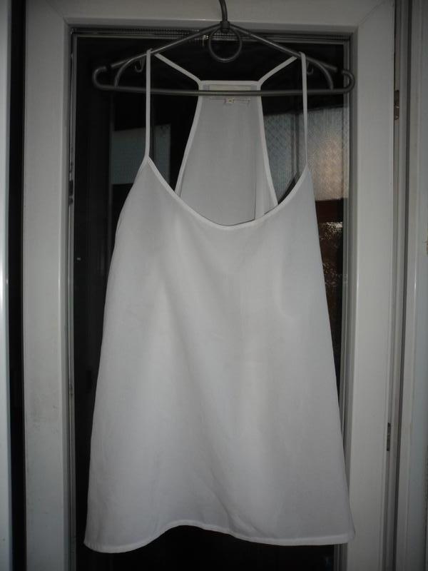Белая майка на тонких бретелях топ блуза next 12 14 открытые п... - Фото 2