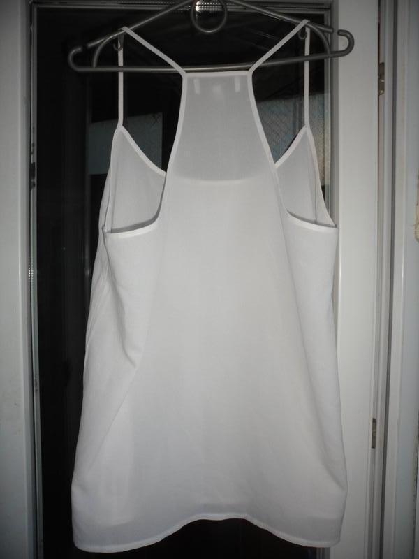 Белая майка на тонких бретелях топ блуза next 12 14 открытые п... - Фото 4
