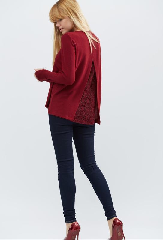 Красный нарядный длинный джемпер кофта свитер италия с шифоном... - Фото 5
