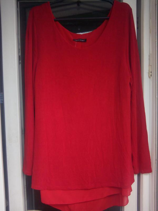 Красный нарядный длинный джемпер кофта свитер италия с шифоном... - Фото 2