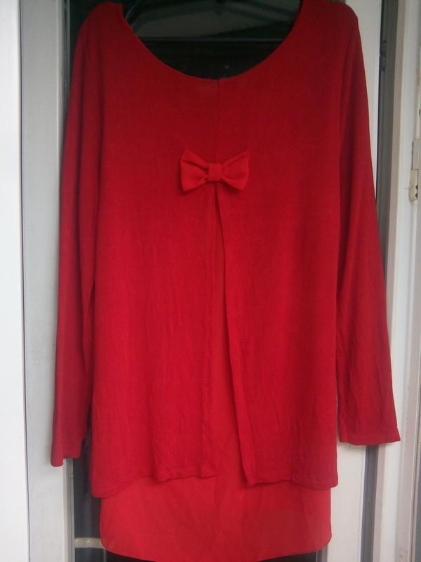 Красный нарядный длинный джемпер кофта свитер италия с шифоном... - Фото 3