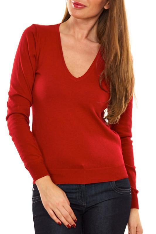 Красный вязаный тонкий джемпер пуловер свитер infinity