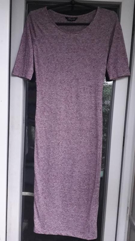 Розовое платье миди internacionale облегающее с рукавом трикот... - Фото 2
