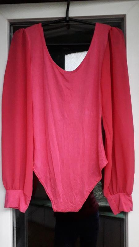 Женский style нарядный розовый боди комбидрес с шифоновыми рук... - Фото 4