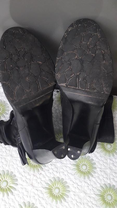 Женские черные кожаные ботинки полусапоги на каблуке байке 37 ... - Фото 3