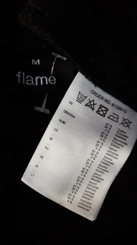 Черные котоновые flame takko штаны леггинсы лосины молния по б... - Фото 2