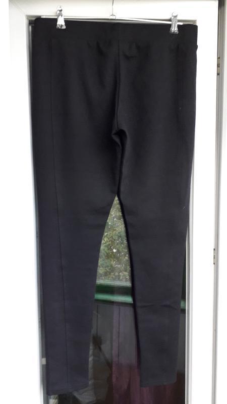 Черные котоновые flame takko штаны леггинсы лосины молния по б... - Фото 4