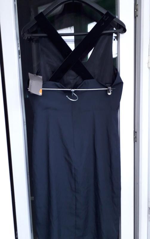 Zara basic dress синее нарядное вечернее платье футляр с переп... - Фото 2