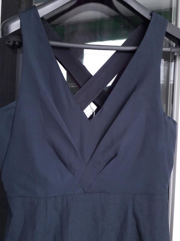 Zara basic dress синее нарядное вечернее платье футляр с переп... - Фото 4