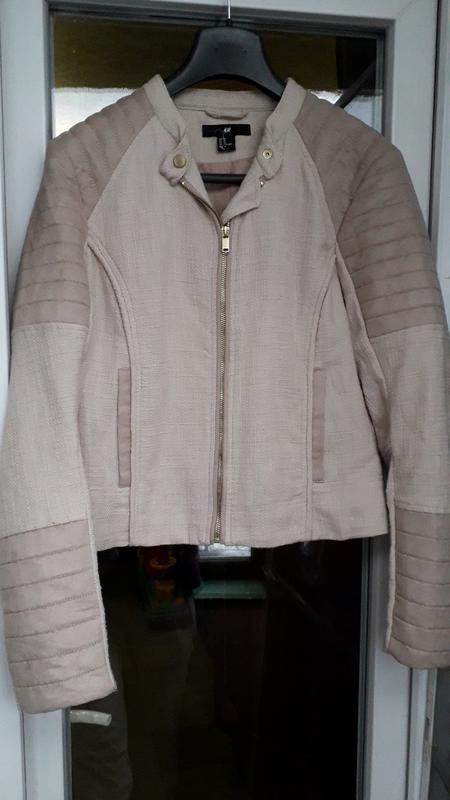 H&m короткая куртка косуха демисезон на молнии стеганая оверса...