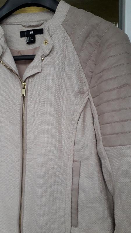 H&m короткая куртка косуха демисезон на молнии стеганая оверса... - Фото 2