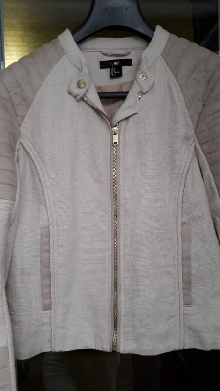 H&m короткая куртка косуха демисезон на молнии стеганая оверса... - Фото 3