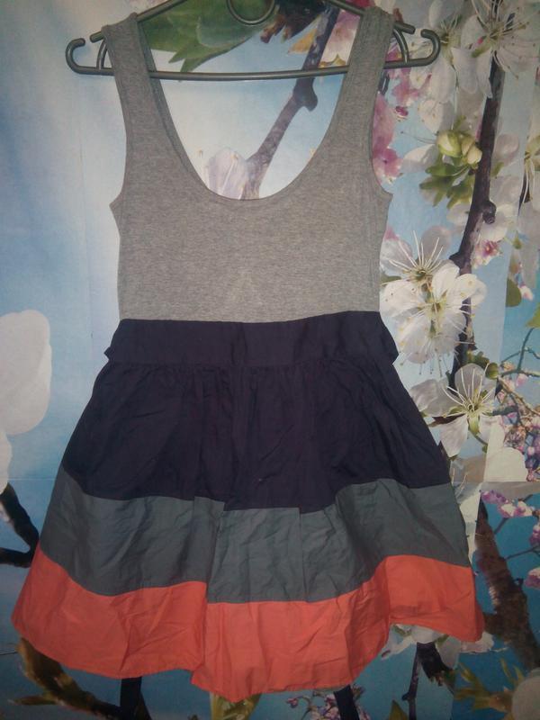 Женское летнее платье topshop пышная юбка в полоску - Фото 3
