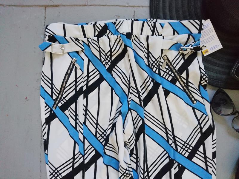 Легкие летние брюки в геометрический принт №170 - Фото 2