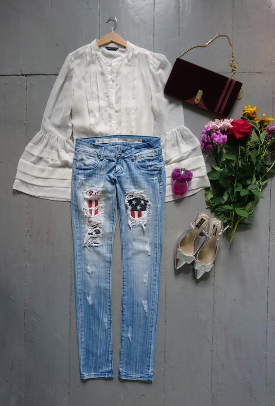 Актуальные рваные джинсы скинни высокий рост №267