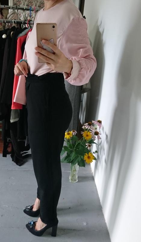 Актуальные укороченные зауженные брюки с высокой посадкой №314 - Фото 4