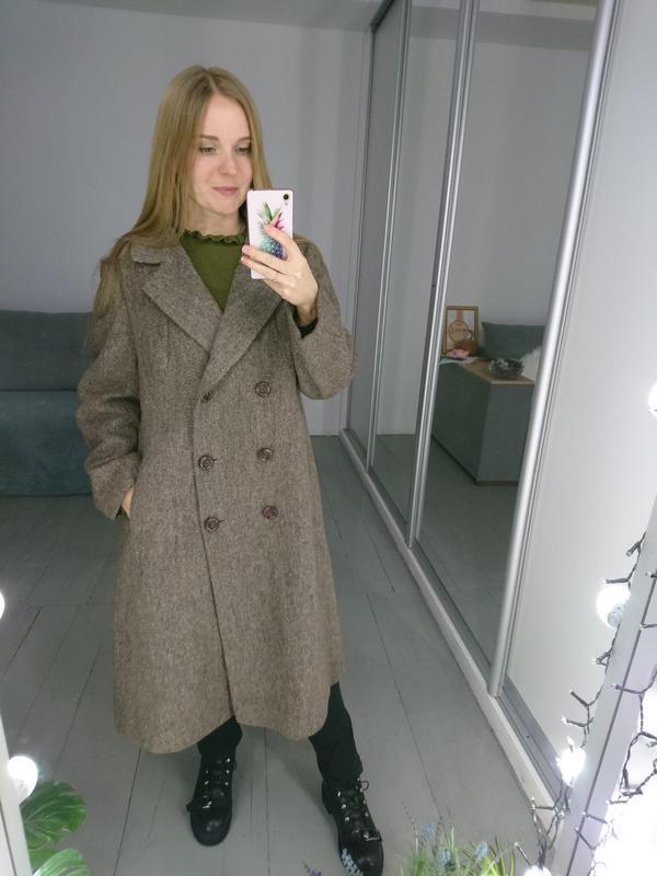 Актуальное винтажное двубортное шерстяное пальто