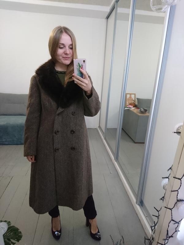 Актуальное винтажное двубортное шерстяное пальто - Фото 2