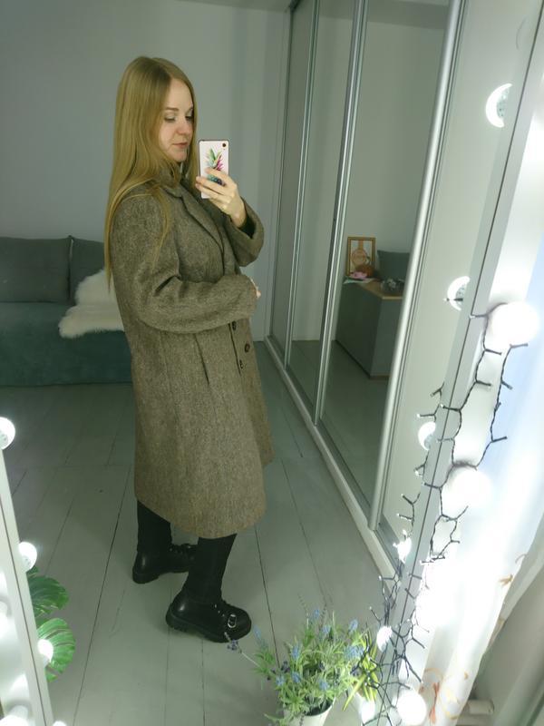 Актуальное винтажное двубортное шерстяное пальто - Фото 3