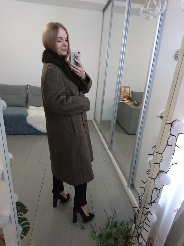 Актуальное винтажное двубортное шерстяное пальто - Фото 5