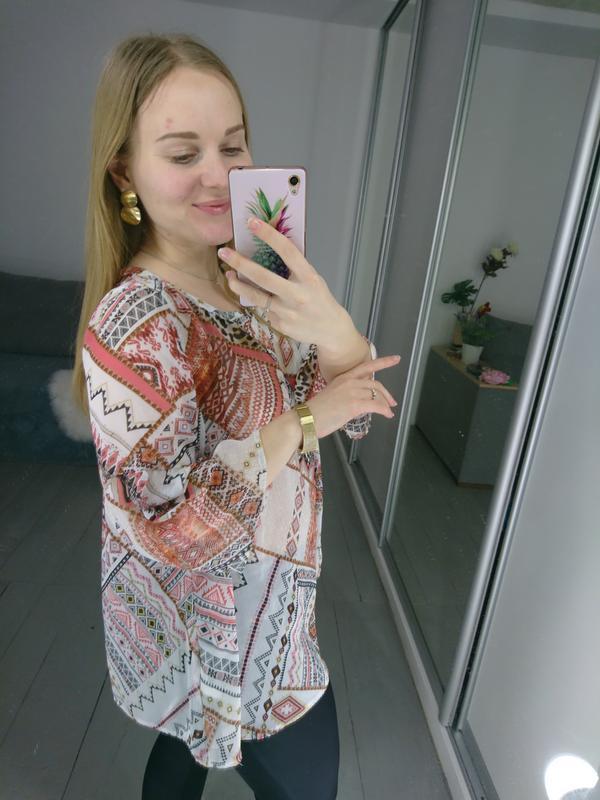 Актуальная шифоновая блуза с расклешенными рукавами №94 - Фото 4