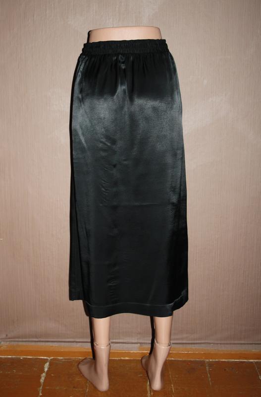 Актуальная сатиновая миди юбка №126 - Фото 4