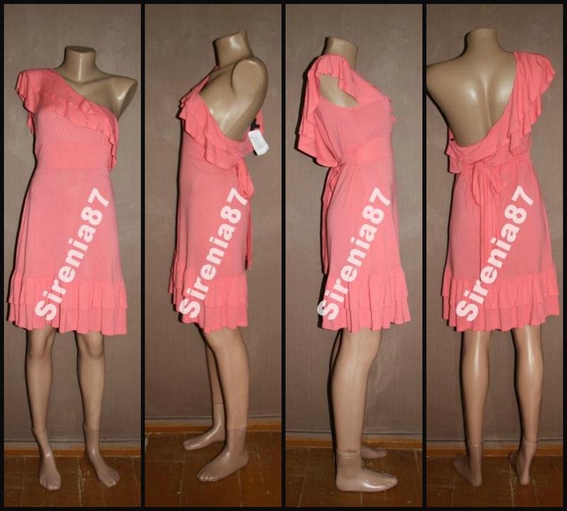 №279 стильное коралловое платье - Фото 2