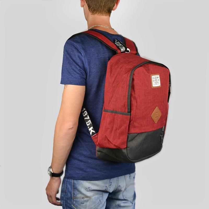 Мужской городской рюкзак красный с черным 19 л - Фото 6