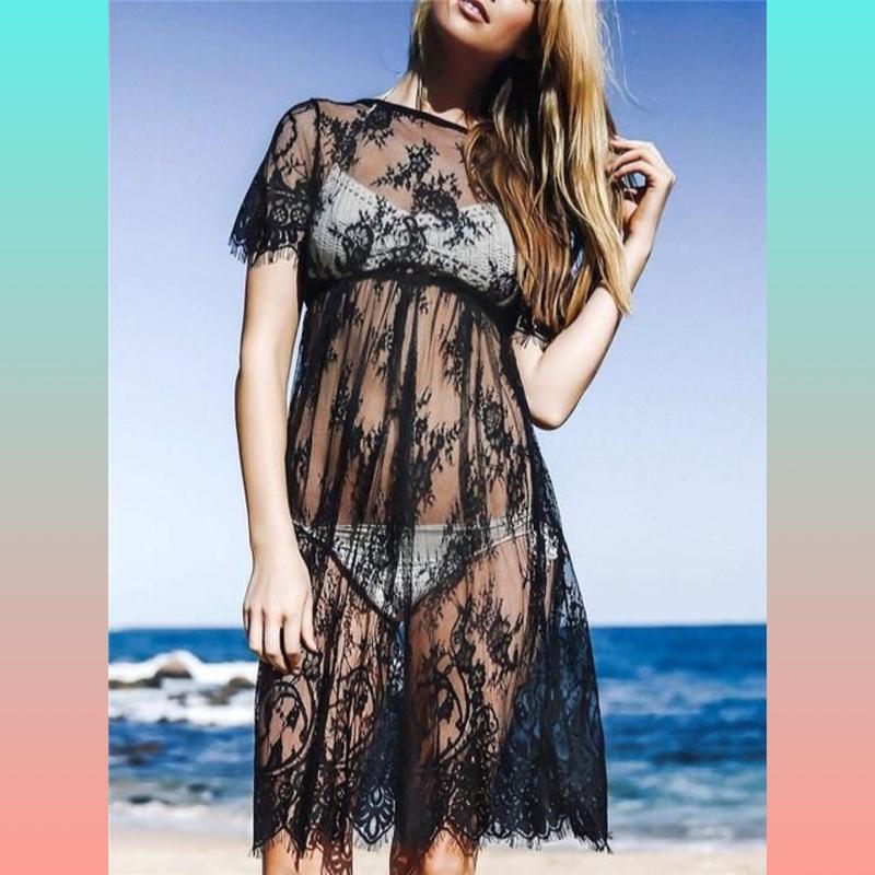 Пляжная туника, кружевное платье