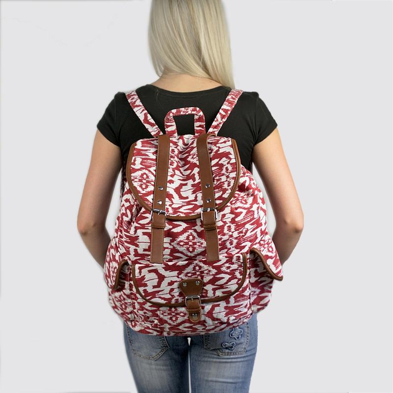 Вместительный женский городской рюкзак красный - Фото 8