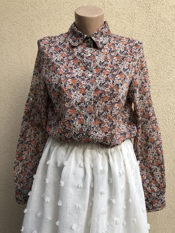 Удлиненная блузка(рубашка)туника,camaieu в цветочный принт,хлопок