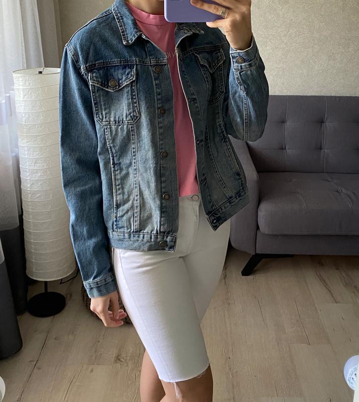Джинсовая куртка, джинсовка с нашивкой topshop - Фото 5