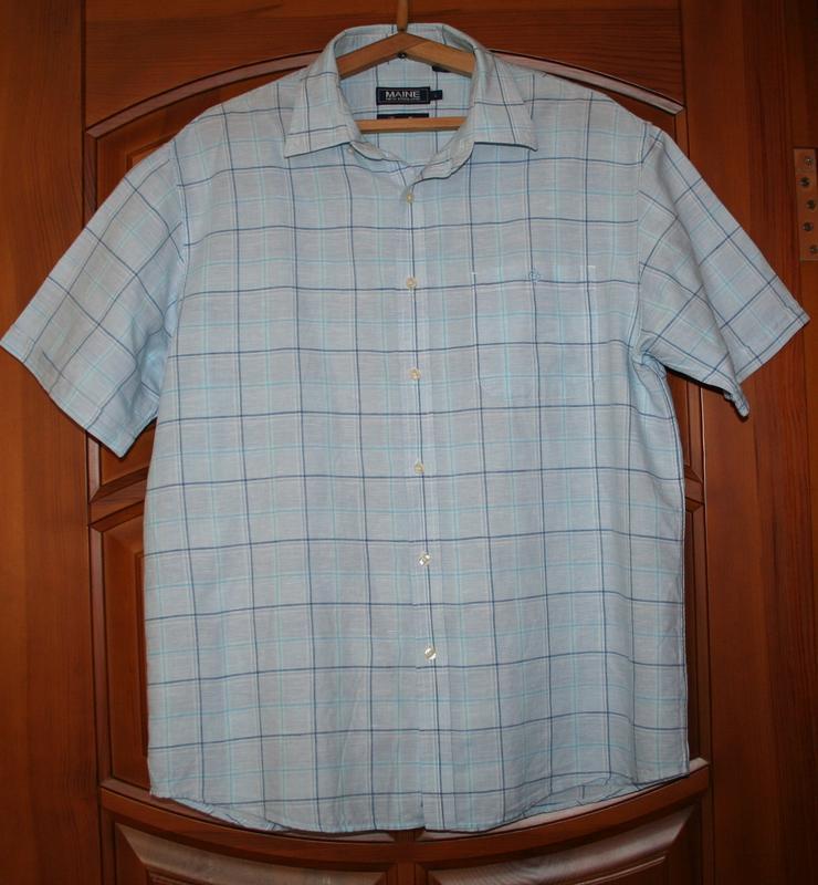 Голубая рубашка, хлопок, лен