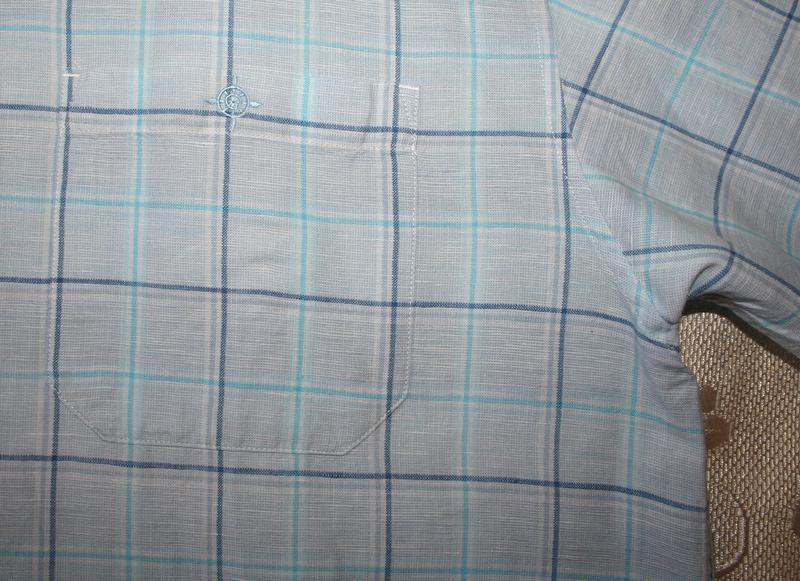 Голубая рубашка, хлопок, лен - Фото 2