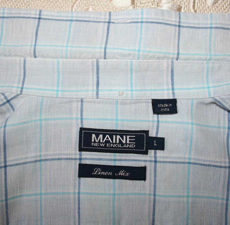 Голубая рубашка, хлопок, лен - Фото 4