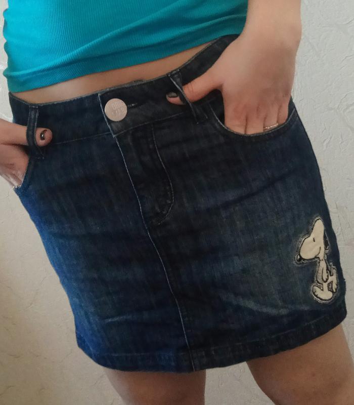 Стильная джинсовая юбка с аппликацией, молодежная одежда