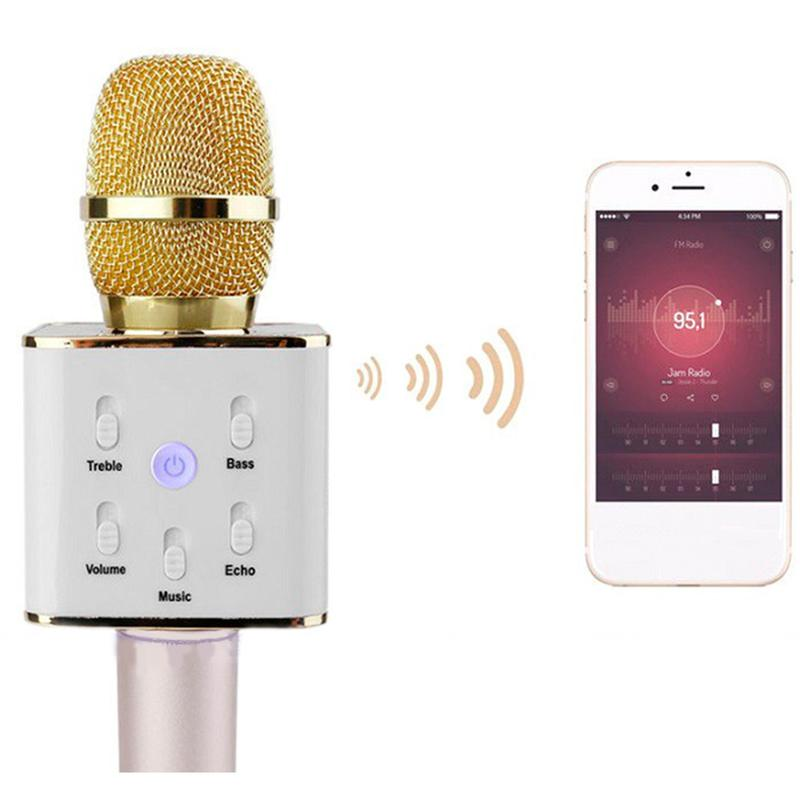 Bluetooth микрофон для караоке Q7 с чехлом - Фото 3