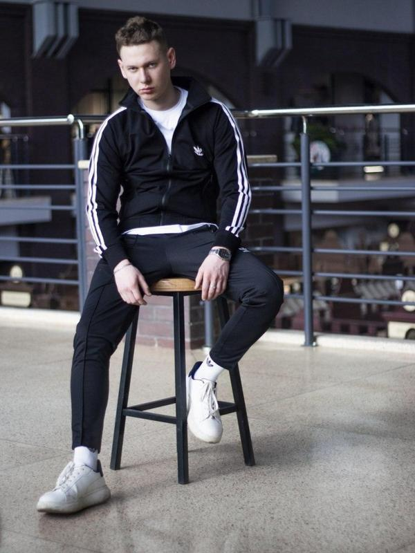 Спортивные штаны мужские укороченные adidas stich черные - Фото 2