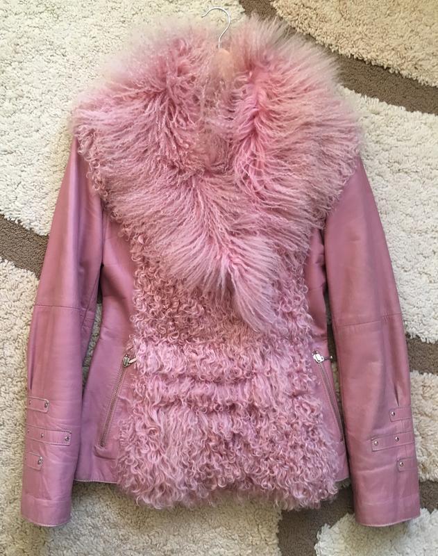 Кожаная куртка с мехом ламы