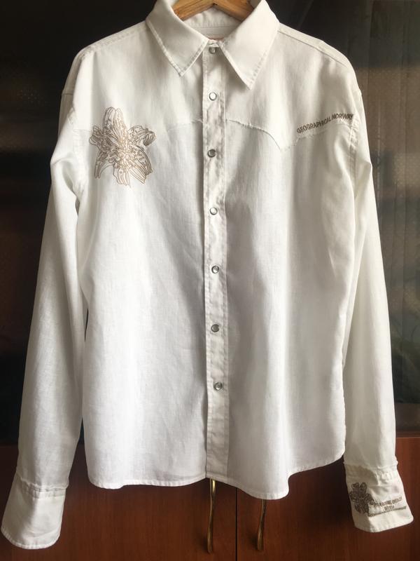 Рубашка geographical norway, лён с хлопком