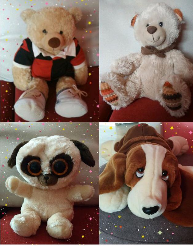 Мягкие большие игрушки, мишка, собака, глазастик