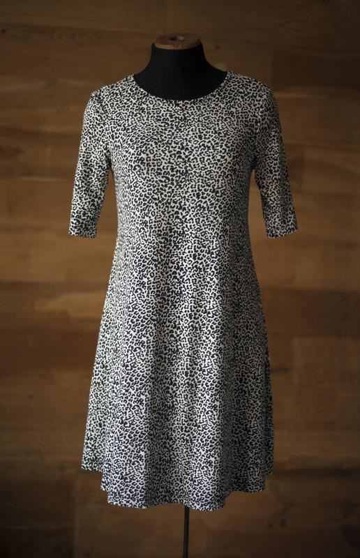 Стильное черно-белое платье в леопардовый принт papaya, размер s